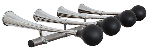 Tuned taxi horns (A4, B4, C5, D5) on rail